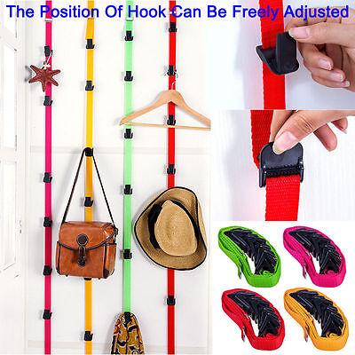 Adjustable Over Door Straps Hanger Cap HandBag Rack Organizer 7 Hooks ORANGE
