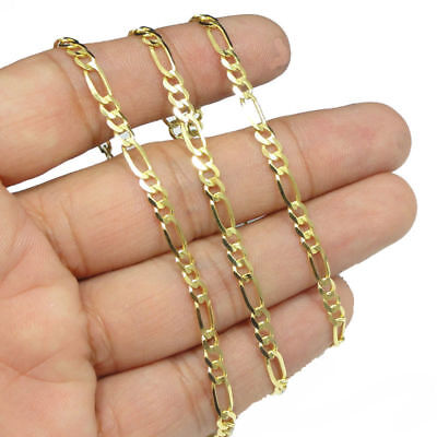 3mm Light Weight Plain Figaro Cuban Curb 10kt Real Yellow Gold Chain Necklace