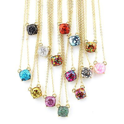 Rainbow Glitter Square Stud Earrings Necklaces KS Classic Studs Choker - Stud Choker