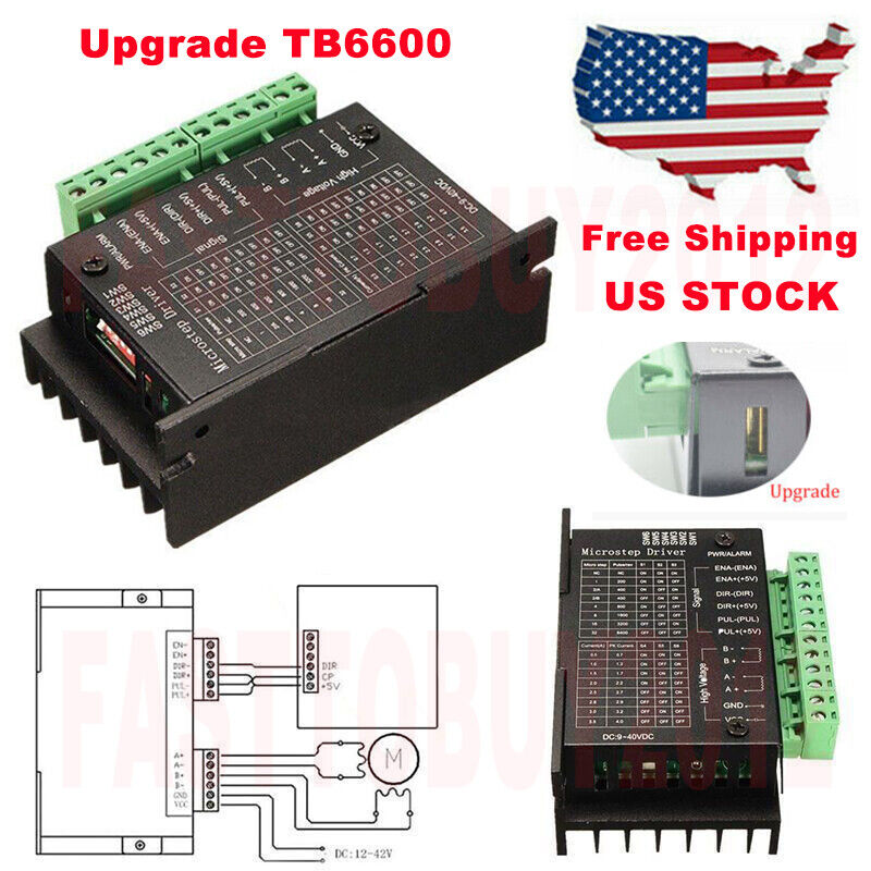 TB6600 Stepper Driver 4A Micro-Step CNC 9~40V DC Controller for 57BYG250H Motor