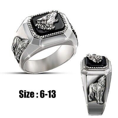 Unique Mens Fashion Silver Wolf Ring Jewelry Halloween Christmas Gifts Size 7