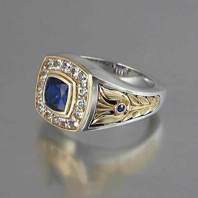 Two Sapphire Men/women Silver Size6-10 Vintage Tone Blue Rings 925 for Ring Blue Sapphire Two Tone Ring