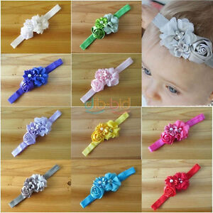 Baby Girl Toddler Stretch Hairband Flower Bow - New