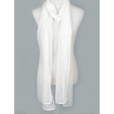 Fashion Lightweight Elegant Extra Long Chiffon Scarf for Women, White Extra Long Fashion Scarf