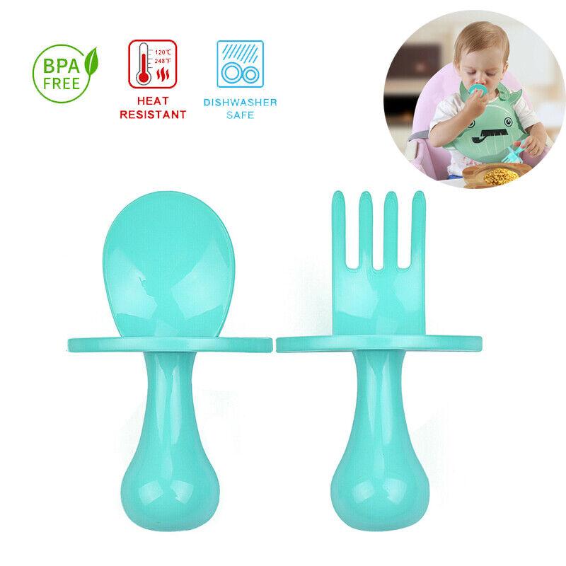 Baby Spoon Fork Utensil Set Feeding Training Heat-Resistant BPA Free Ergonomic