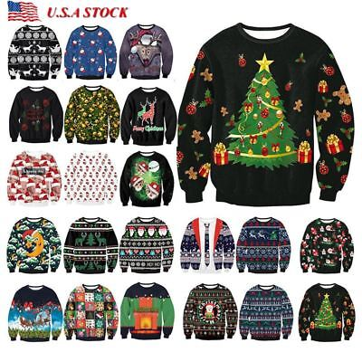 Unisex Men Women Ugly Christmas Sweater President Trump Xmas Knit Pullover Tops](Womens Ugly Christmas Sweater)
