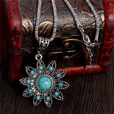 - Woman Vintage Fashion Turquoise Crystal Flower Pendant Chain Necklace Jewelry