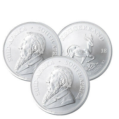 Lot of 3 Silver 2018 South Africa 1 oz Silver Krugerrand .999 fine Silver 1 Rand