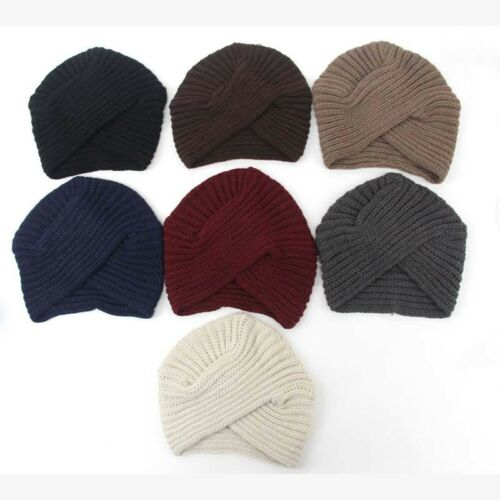 Women Winter Warm Knitted Head Wrap Cross India Caps Men Tur