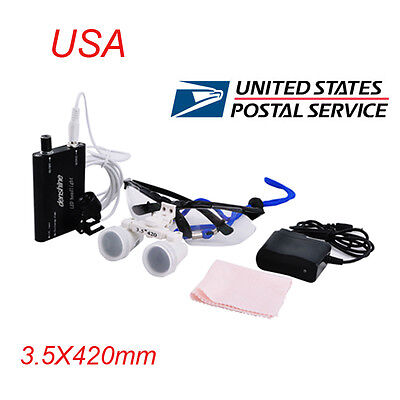 Fda Dental 3.5x Surgical Binocular Loupes 420mm With Led Head Light Lamp Usps