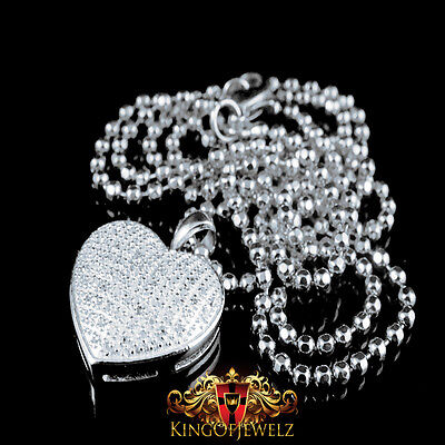 White Gold Silver Ladies Puffed Heart Pave Set Real Diamond Pendant Charm - Ladies Puffed Heart
