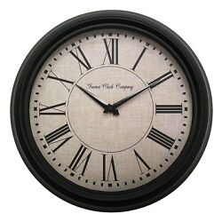 4654G Geneva Clock Company 14 Metal Black Analog Wall Clock