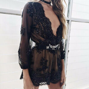 BRAND NEW Deep Plunge V-Neck Long Sleeved Beaded Sequin Playsuit Cambridge Kitchener Area image 5