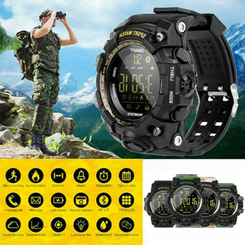 Men's Military Wristwatch Smart Watch Fitness Tracker Heart