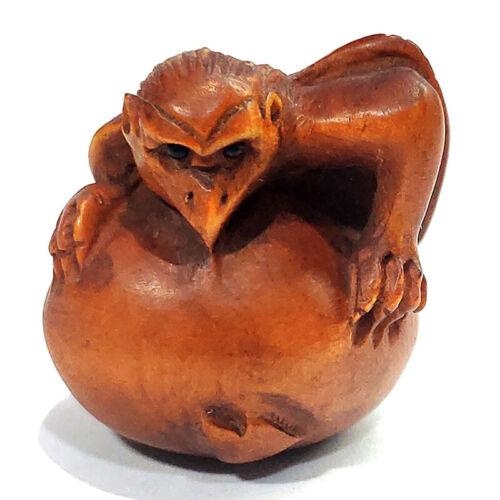 YJ992 - 20 Years Old 1 INCH Hand Carved Boxwood Ojime Bead - Tengu Monster