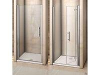 Frameless Pivot/Bifold Shower Enclosure Door Glass Screen Panel Door Witdh: 760mm bifold door/tray