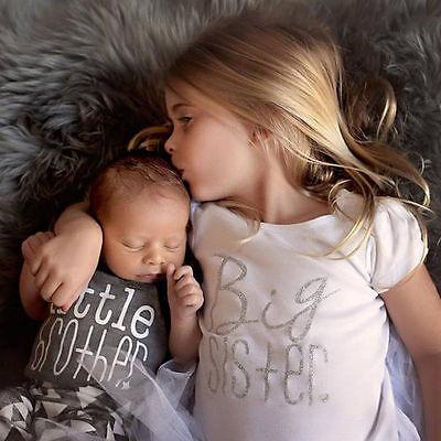 Newborn Baby Kids Famliy Matching Suit Big Sister T Shirt Little Brother Romper
