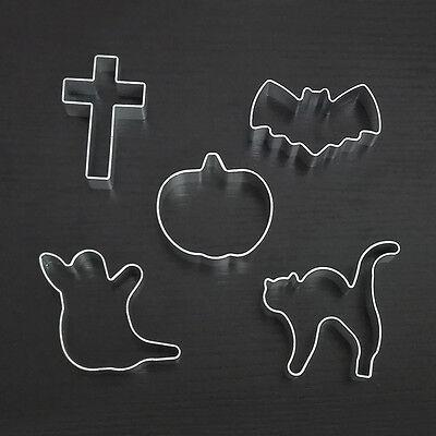 5pcs Halloween Ghost Cat Pumpkin Bats Cross Sugar Cookies Cutter Cake Decorating ()