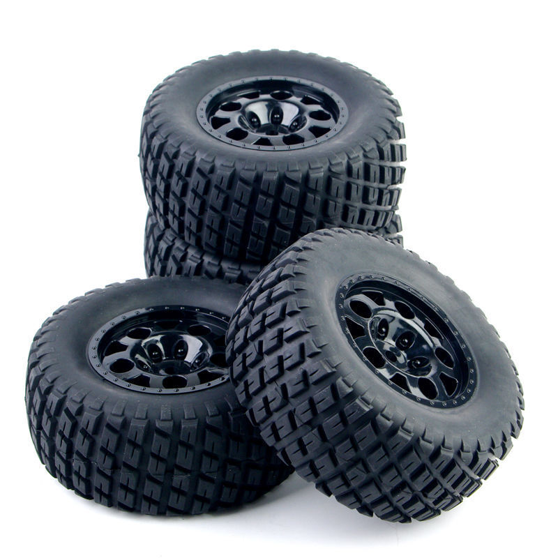 4Pcs 1:10 Ruber Rims Tires&wheels For Short Course RC TRAXXAS SlASH Car Truck