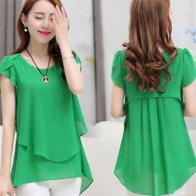 Summer Women Chiffon  Shirts Short Sleeve  Plus Size Fashion Casual Ladies Tops* (Fashion Women Casual Chiffon)