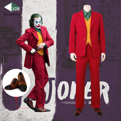 2019 Joker Cosplay clown costume Joaquin Phoenix Red Suit Shoes Halloween Movie - Halloween Movie Clown Costume