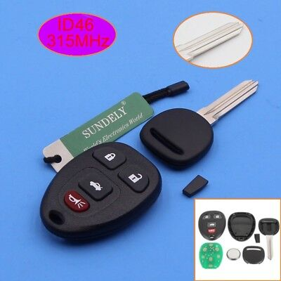 4Button Remote Control Key Fob +Uncut Ignition Key ID46 Chip for Buick Chevrolet