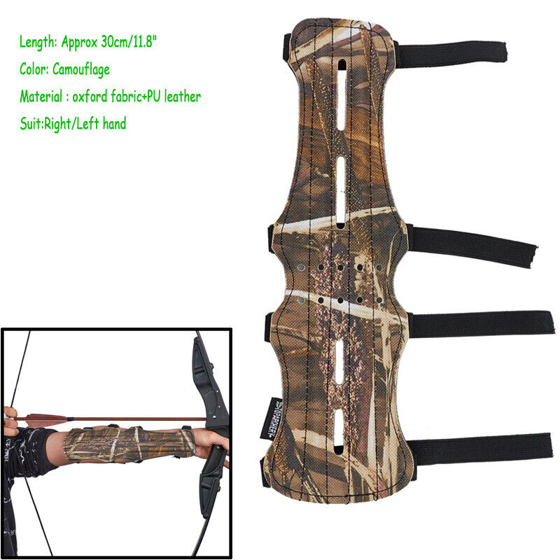 Archery PU Wrist Arm Guard 4 Straps Compound Bow Recurve Bow Arm Protection Camo