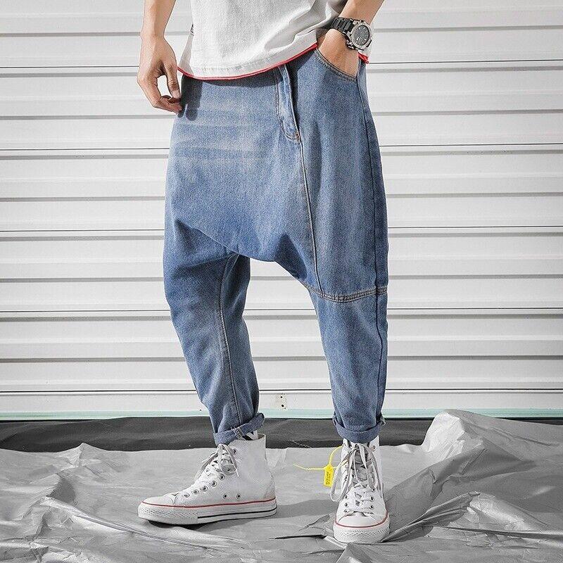 Men/'s Drop Crotch Harem Denim Trousers Pants Jeans Loose Baggy Hippy Casual
