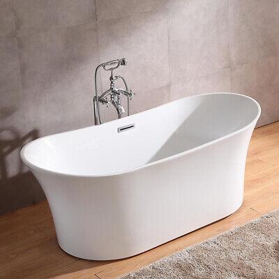 White Freestanding Acrylic Soaking Bathtub Modern Oval Tub Shower with Drain
