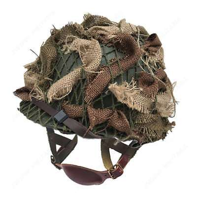 WWII US Army Airborne Paratrooper M1C Helmet With Camouflage Cover Net Scrim for sale  Shipping to Canada