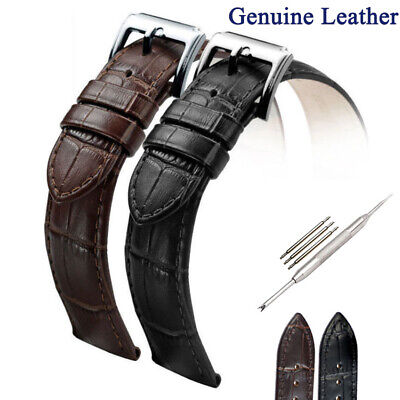 Men's Genuine Leather Watch Strap Band Buckle/Clasp 16mm 18mm 20mm 22mm 24mm US