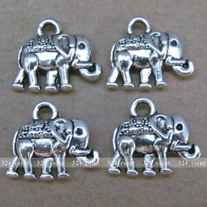 20pcs-14-12mm-Tibetan-Silver-Elephant-Charm-Double-sided-Beads-Wholesale-P011
