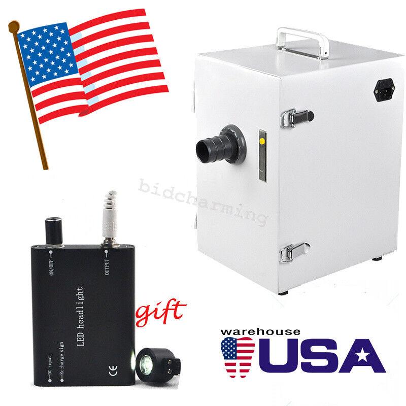 USA Portable Dental Digital Dust Collector Vacuum Cleaner machine LED head light