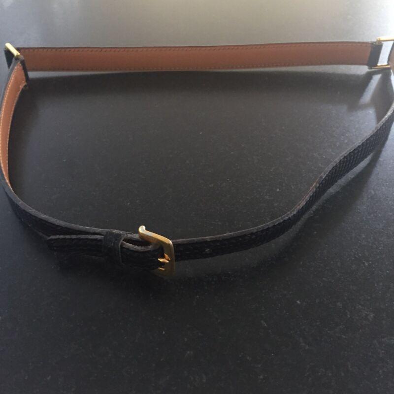 hermes black lizard belt