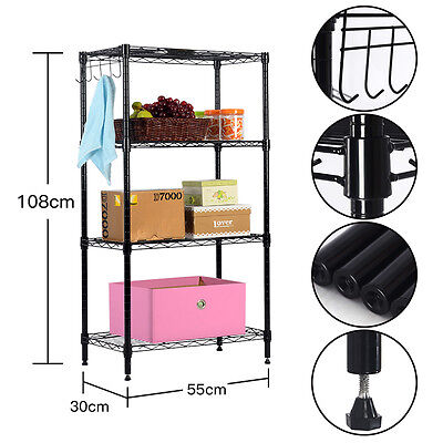 Industrial Wire Shelving Rack Metal Shelf Adjustable Unit Garage Kitchen Storage