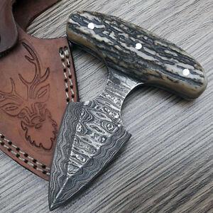 Custom Handmade Damascus Hunting Knife FULL TANG STAG ANTLER Han