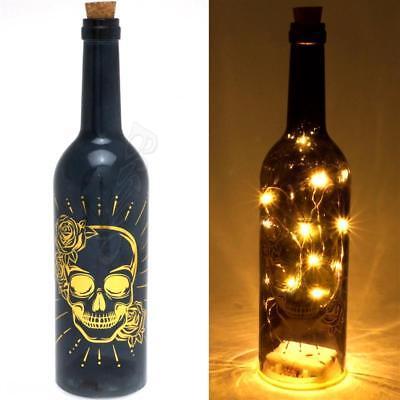 Totenkopf LED Flasche schwarz gold Dekoration Schädel Lichterkette Glasflasche