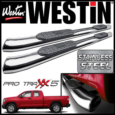 Westin Pro Traxx 5 STAINLESS Oval Nerf Step Bars fit 2007-2021 Tundra Double Cab