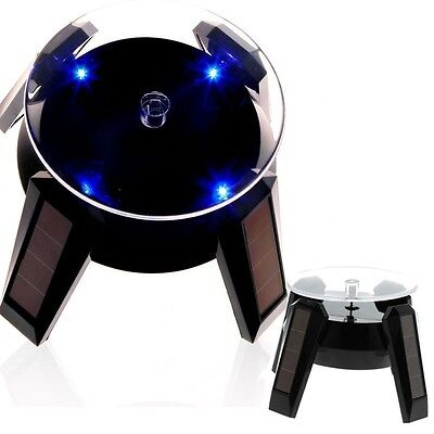 360 Turntable Rotating Jewelry Watch Phone Ring Solar Display Stand W Led Light