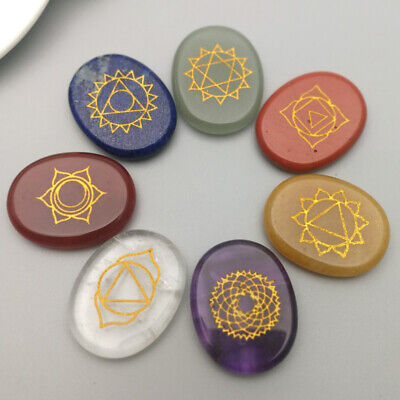 7pcs/set Chakra natural Stone Palm Stone Reiki Crystals Healing carved oval
