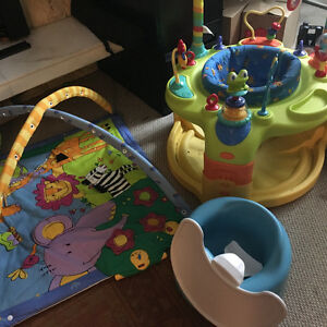 Baby saucer, play pad, bumbo and 3-9 months girl clothes