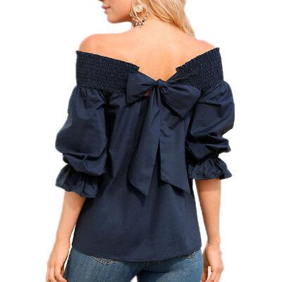 -  Women's New Fashion Blouse Back Bow Slash Neck Off Shoulder Sexy Puff Sleeve