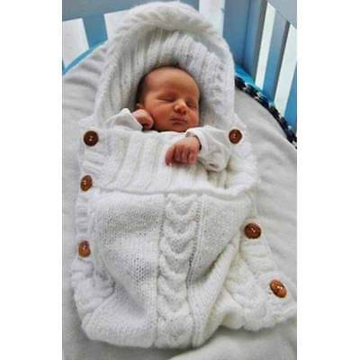 New Personalised Chunky Knitted Winter Baby Blanket Pram Wrap Throw Sleeping Bag