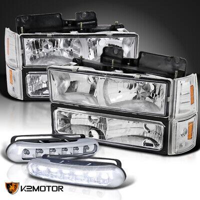 94-98 GMC Sierra Clear Headlights Bumper Corner Signal Lamps+LED DRL Fog Lamps
