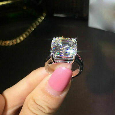 4Ct Asscher Cut VVS1/D Diamond Solitaire Engagement Ring 18K White Gold Finish