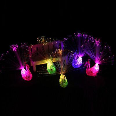 LED Glow Peacock Finger Light Laser Beams Ring Kid Toy Flash Neon Flashing Decor