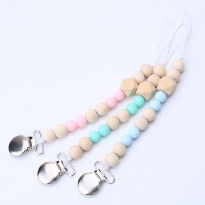 Round Dummy Soother Clip Pacifier Holder Baby BPA Free Hexagon Wood Beads Chain