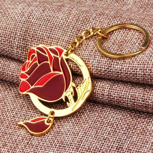 BEAUTY AND THE BEAST ROSE KEYCHAIN KEY RING WITH ROSE PETAL DANGLE