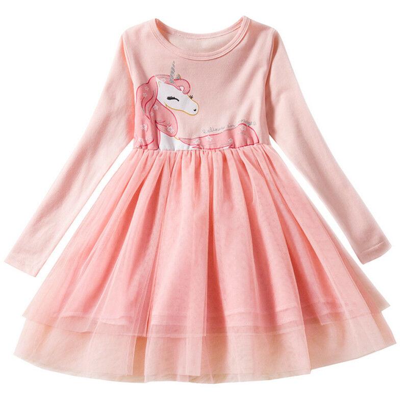 Kids Grils Unicorn Print Mini Dress Short Sleeve Princess Swing Party Tutu Dress