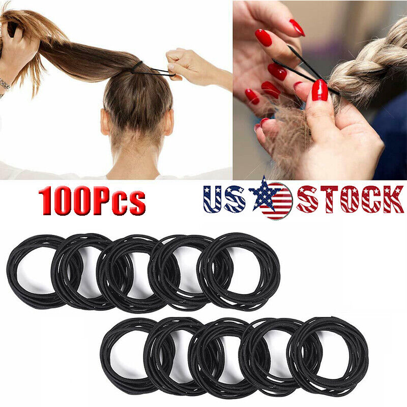 100Pcs Sewing Elastic Band Hair Ties Ponytail Holder Rubber Stretch Rope Ribbon